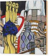 Studying Gaudi Wood Print by Nina Mirhabibi