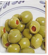 Stuffed Green Olives Wood Print