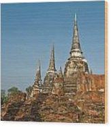 Stupas Chedis Of A Wat In Ayutthaya Wood Print