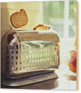 Stylish Chrome Toaster Popping Up Toast Wood Print by Kelly Sillaste