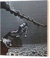 Submarine Telephone Cable And Diver - Hanauma Bay 1973 Wood Print