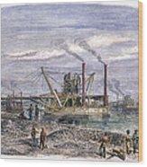 Suez Canal Construction Wood Print