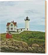 Summer Afternoon At Nubble Light Wood Print