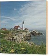 Summer At Portland Head Light Wood Print