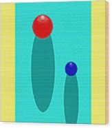 Summer Balls Red And Blue Wood Print