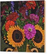 Summer Flower Bouquet Wood Print