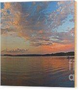 Summer Night At Sebago Lake Wood Print
