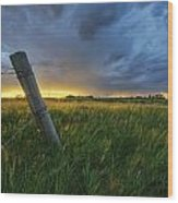 Summer Thunderstorm And Fencepost Wood Print