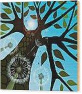 Summer With Dandelions Wood Print