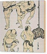 Sumo Wrestlers, 1817 Wood Print