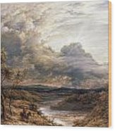 Sun Behind Clouds Wood Print by John Linnell