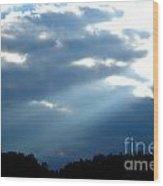 Sun Breaks Through Stormy Sky Wood Print