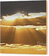 Sun Rays At Sunset Sky Wood Print by Elena Elisseeva