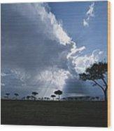Sun Rays Break Through Clouds Wood Print