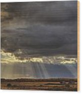 Sun Rays Through Clouds Over Three Old Wood Print