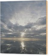 Sun Reflection Over Water, Wattenmeer Wood Print