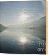 Sun Reflections On A Lake Wood Print