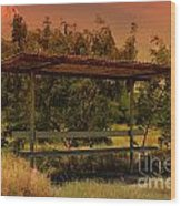 Sun Set Bus Stop Wood Print