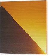 Sun Sets Behind Khufus Great Pyramid Wood Print
