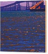 Sun Setting Beyond The Richmond-san Rafael Bridge - California - 5d18435 Wood Print by Wingsdomain Art and Photography