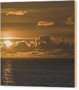 Sun Setting On The Ocean With The Wood Print by Michael Interisano