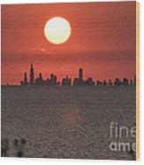 Sun Setting Over Chicago Wood Print