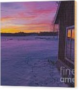 Sun Setting Over Winter Landscape And A Small House Wood Print
