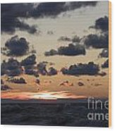 Sun Setting With Dramatic Clouds Over Lake Michigan Wood Print