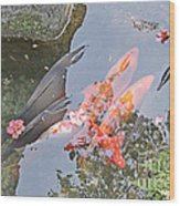 Sun Water Flowers And Fish Wood Print