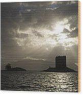 Sunbeams On Castle Stalker Wood Print