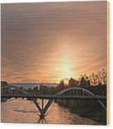 Sunburst Sunset Over Caveman Bridge Wood Print