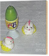 Easter Chicks And Kitties Wood Print