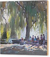Sunday Afternoon By The Fontain Wood Print