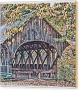 Sunday River Covered Bridge Wood Print