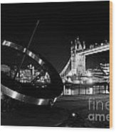 Sundial And Tower Bridge At Night Wood Print