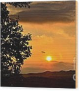 Sundown In Ellijay Wood Print