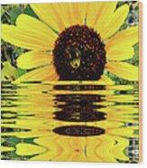 Sunflower And Bee Wood Print