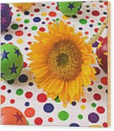Sunflower And Colorful Balls Wood Print