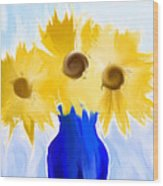 Sunflower Fantasy Still Life Wood Print