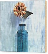 Sunflower In A Beach Bottle Wood Print by Marsha Heiken