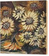 Sunflowers 12 Square Painting Wood Print
