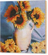 Sunflowers And Daisies Wood Print