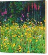Sunflowers And Grasses Wood Print