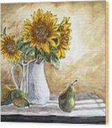 Sunflowers and Pears Wood Print