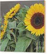 Sunflowers At Pikes Market Wood Print