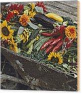 Sunflowers, Dahlias, Eggplants, Pepper Wood Print