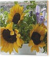 Sunflowers Four Wood Print