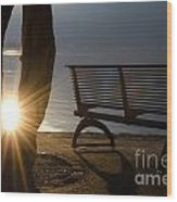 Sunlight And Bench Wood Print