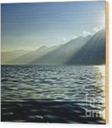 Sunlight Over A Lake With Mountain Wood Print
