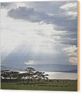 Sunlight Shines Down Through The Clouds Wood Print
